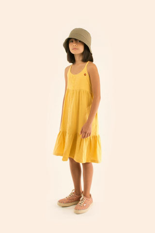 TINYCOTTONS  WAVES STRAPS DRESS *yellow/iris blue*