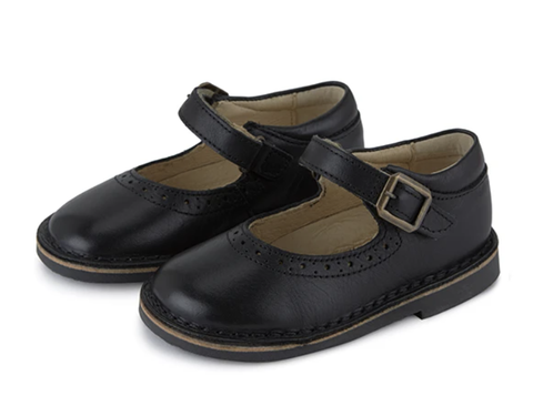 YOUNG SOLES MARTHA VELCRO MARY JANE SHOE BLACK LEATHER