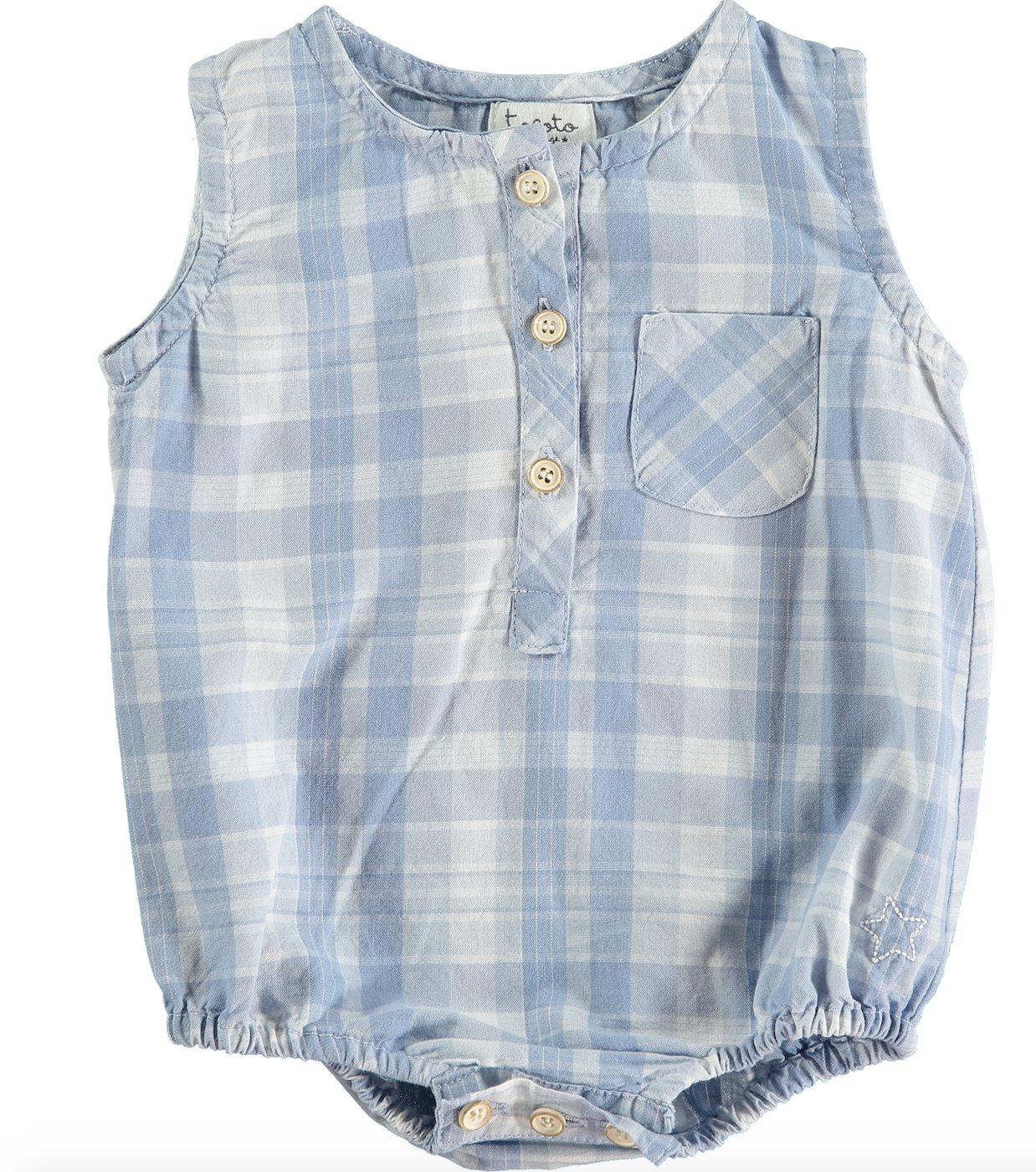 TOCOTO VINTAGE CHECKED DENIM ROMPER