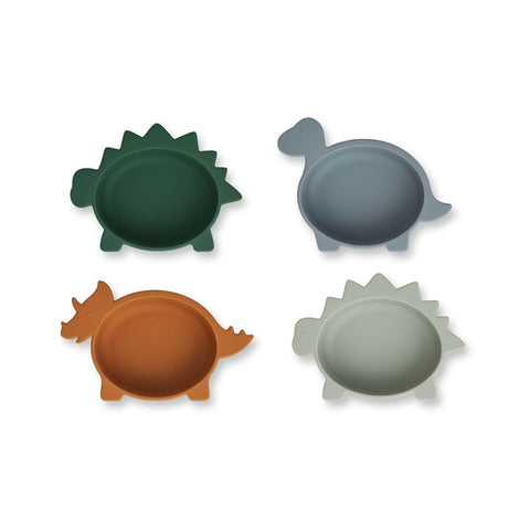 Liewood  Iggy Silicone Bowls 4 Pack - Dino blue multi mix