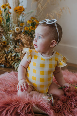 BAMBINO & BUNDLES Ruffle Bodysuit Golden Plaid BABY