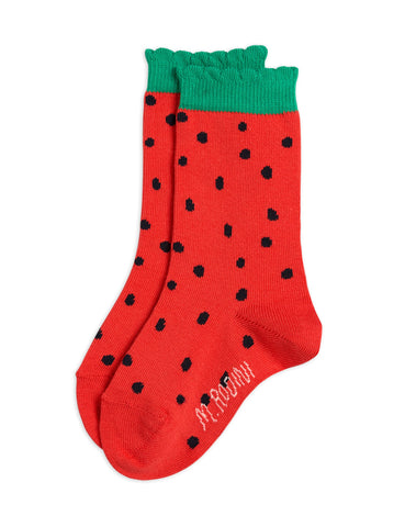 MINI RODINI Strawberry scallop socks