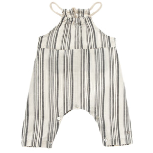 TOCOTO VINTAGE  STRIPED OVERALL WITH INVISIBLE FRONT POCKETS AND ROPE STRA
