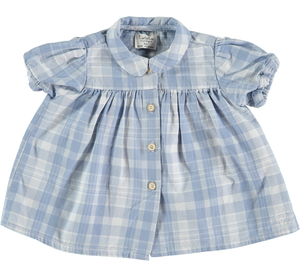 TOCOTO VINTAGE CHECKED DENIM BABY DRESS