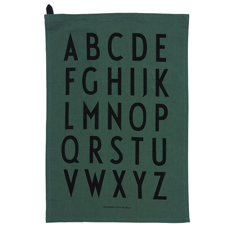 Design Letters Tea Towel dark green