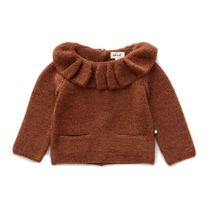 OEUF NYC Ruffle Neck Sweater-Hazelnut
