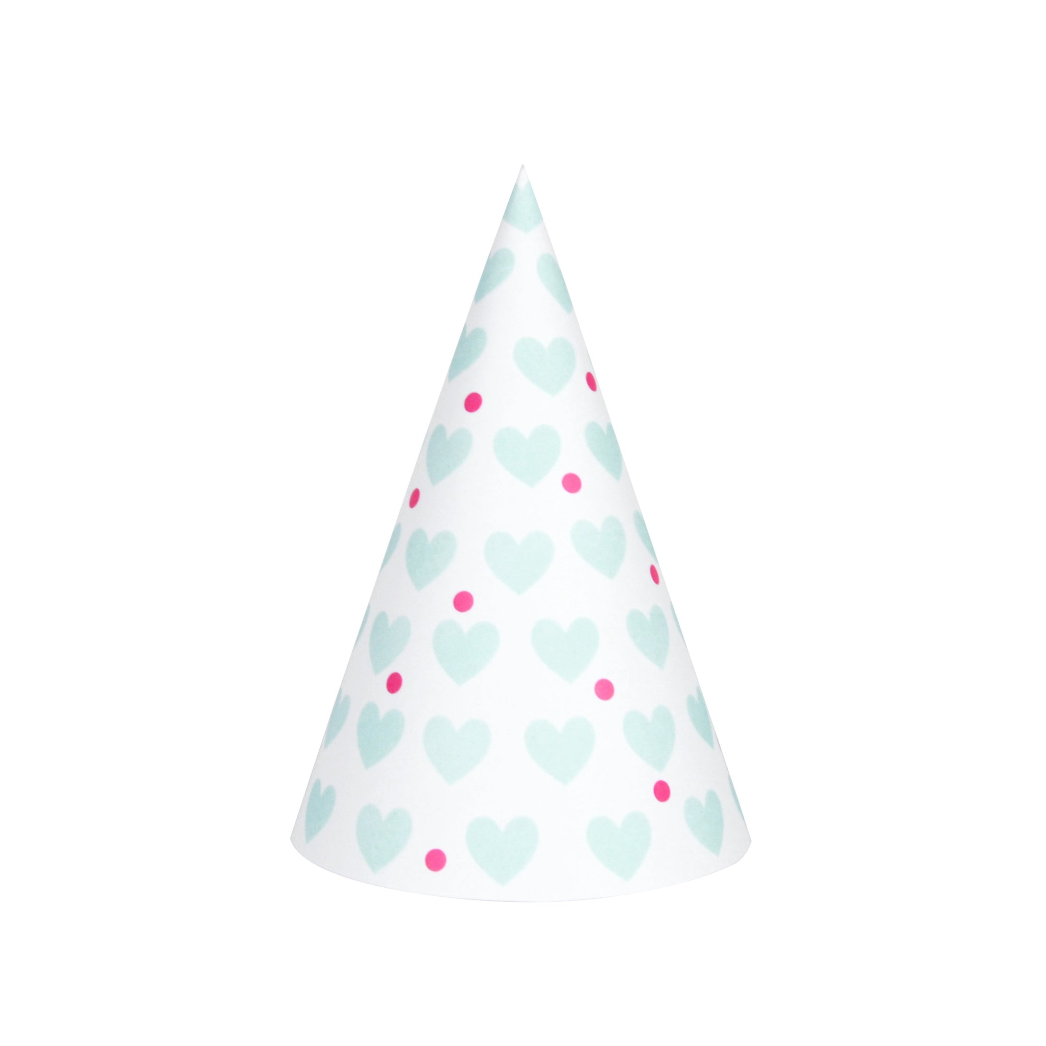 My Little Day  8 party hats - aqua hearts