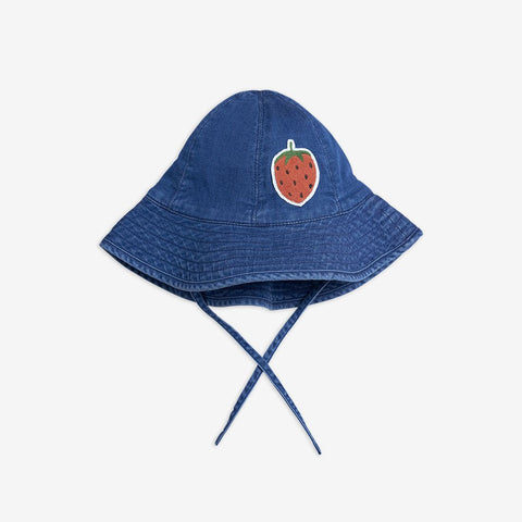 MINI RODINI Denim strawberry sun hat