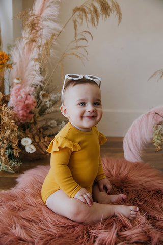 BAMBINO & BUNDLES Long Sleeve Ruffle Bodysuit Cali Sunshine