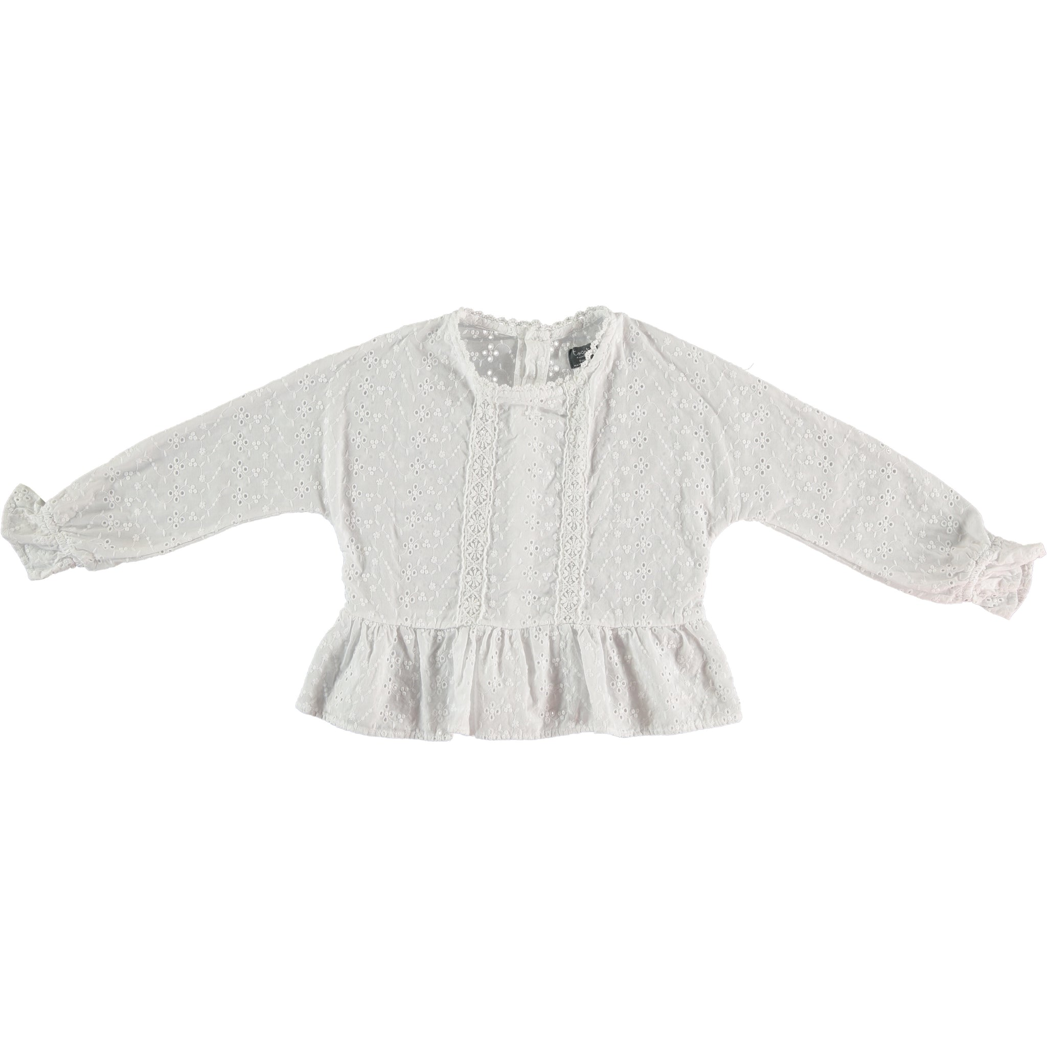 TOCOTO VINTAGE SWISS EMBROIDERED LONG-SLEEVED BLOUSE WITH LACE AND FLOU