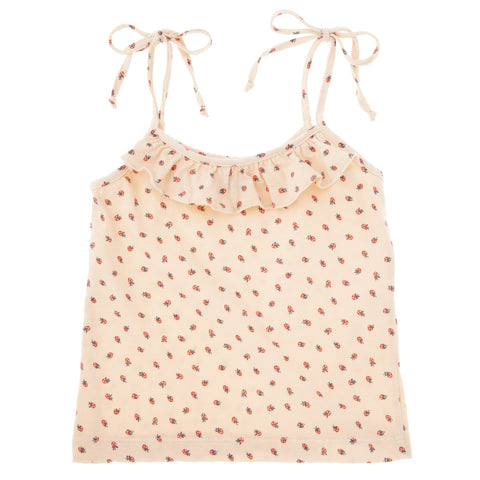TOCOTO VINTAGE STRAWBERRY PRINT BOW SHOULDERS TANK TOP