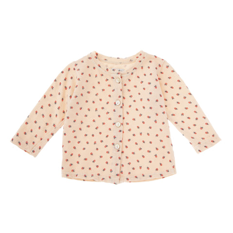 TOCOTO VINTAGE STRAWBERRY PRINT JERSEY CARDIGAN