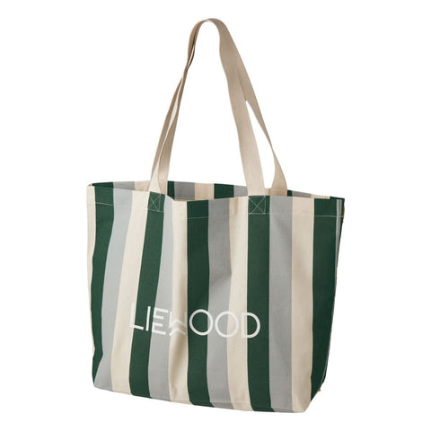 LIEWOOD  Tote Bag Big - Stripe: Garden green/sandy/dove blue