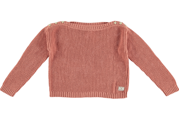 TOCOTO VINTAGE BRIOCHE STITCH SWEATER WITH SHOULDER BUTTONS