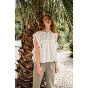 LOUISE MISHA WOMEN Blouse Mia White & Gold Stripes