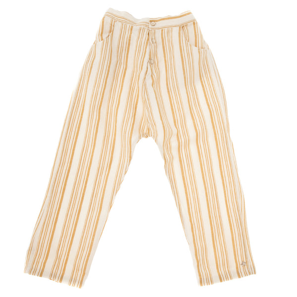 TOCOTO VINTAGE STRIPED PYJAMA STYLE TROUSERS WITH FRONT POCKETS mustard