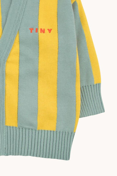 TINYCOTTONS STRIPES CARDIGAN BABY sea green/ yellow