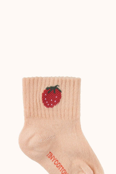 "TINYCOTTONS ""STRAWBERRY"" QUARTER SOCKS *light nude/burgundy* BABY"