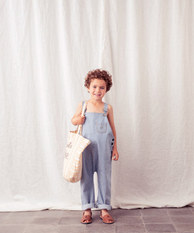 TOCOTO VINTAGE STRIPED DENIM DUNGAREE