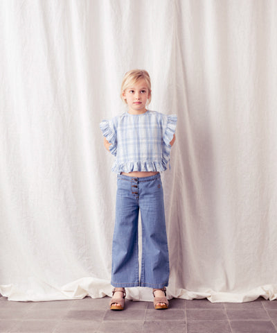 TOCOTO VINTAGE CHECKED DENIM TIE SIDE CROP BLOUSE