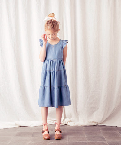 TOCOTO VINTAGE LIGHT DENIM MIDI DRESS