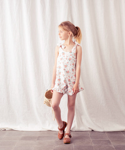 TOCOTO VINTAGE FLOWERS JUMPSUIT WITH BOWS ON SHOULDERS AND FRILLS