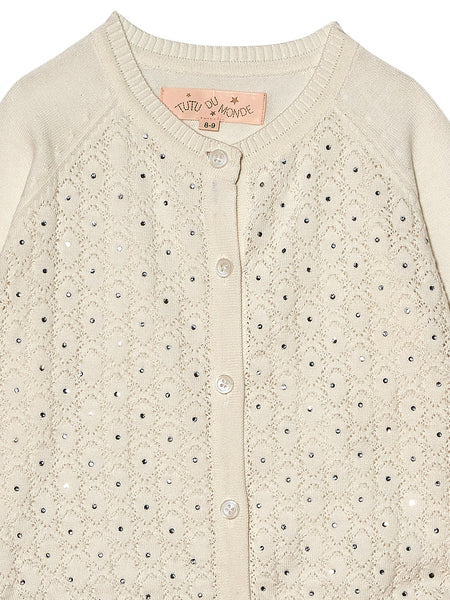 TUTUDUMONDE CRYSTAL CLEAR CARDIGAN  MILK