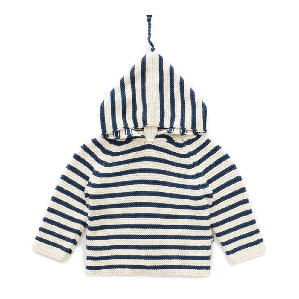 OEUF NYC STRIPED HOODIE  Dark Slate/White Single Layer Hoodie