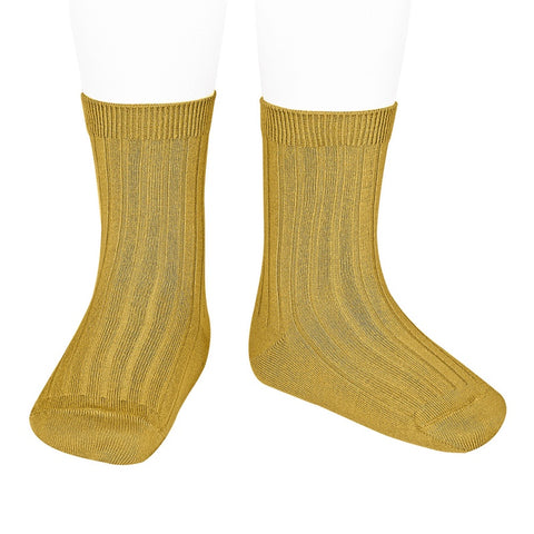 Condor  BASIC RIB SHORT SOCKS MUSTARD  ribbed ankle sock 629