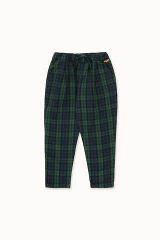 TINYCOTTONS  CHECK PLEATED PANT *light navy/dark green*