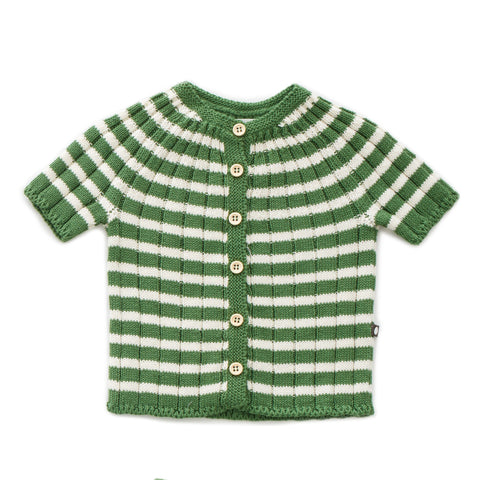 OEUF NYC STRIPED EVERYDAY CARDI White/Green