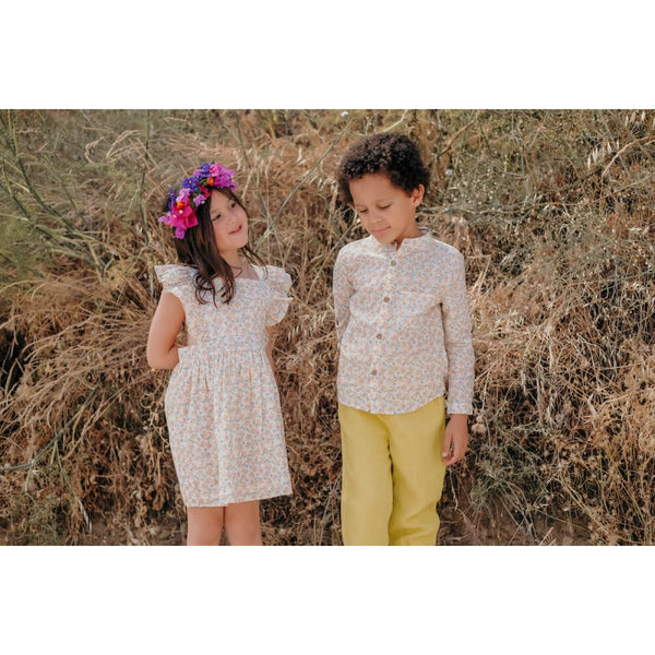 LOUISE MISHA Dress Ambika Cream Petals BABY AND KIDS