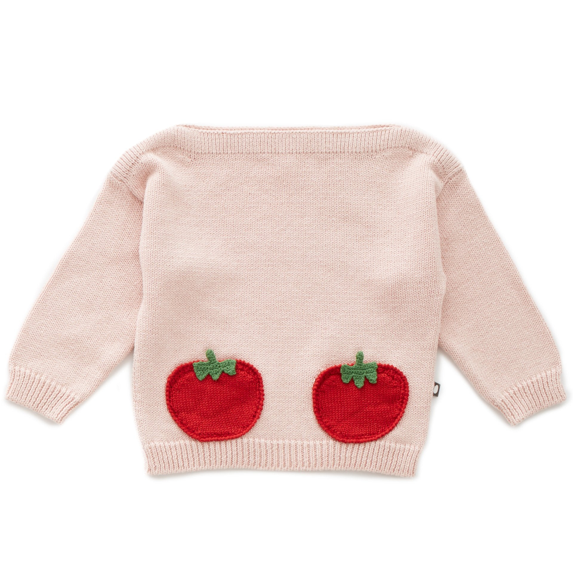 OEUF NYC Tomato Pocket Sweater - Coral Almond/Tomato