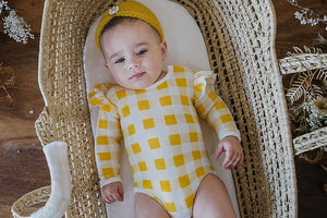 BAMBINO & BUNDLES Long Sleeve Ruffle Bodysuit Golden Plaid