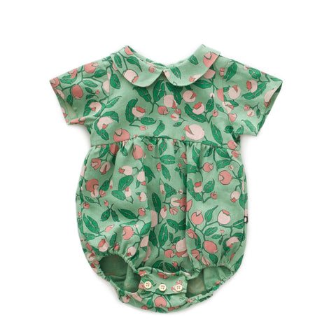 OEUF NYC SS Romper Green Flowers