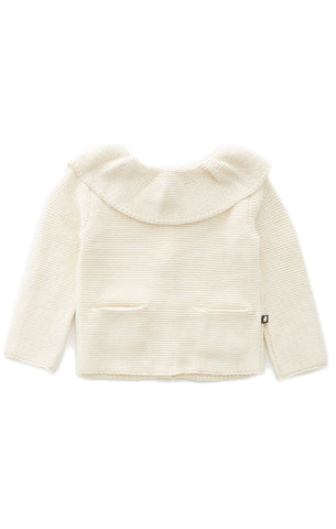 OEUF NYC Ruffle Collar Sweater White