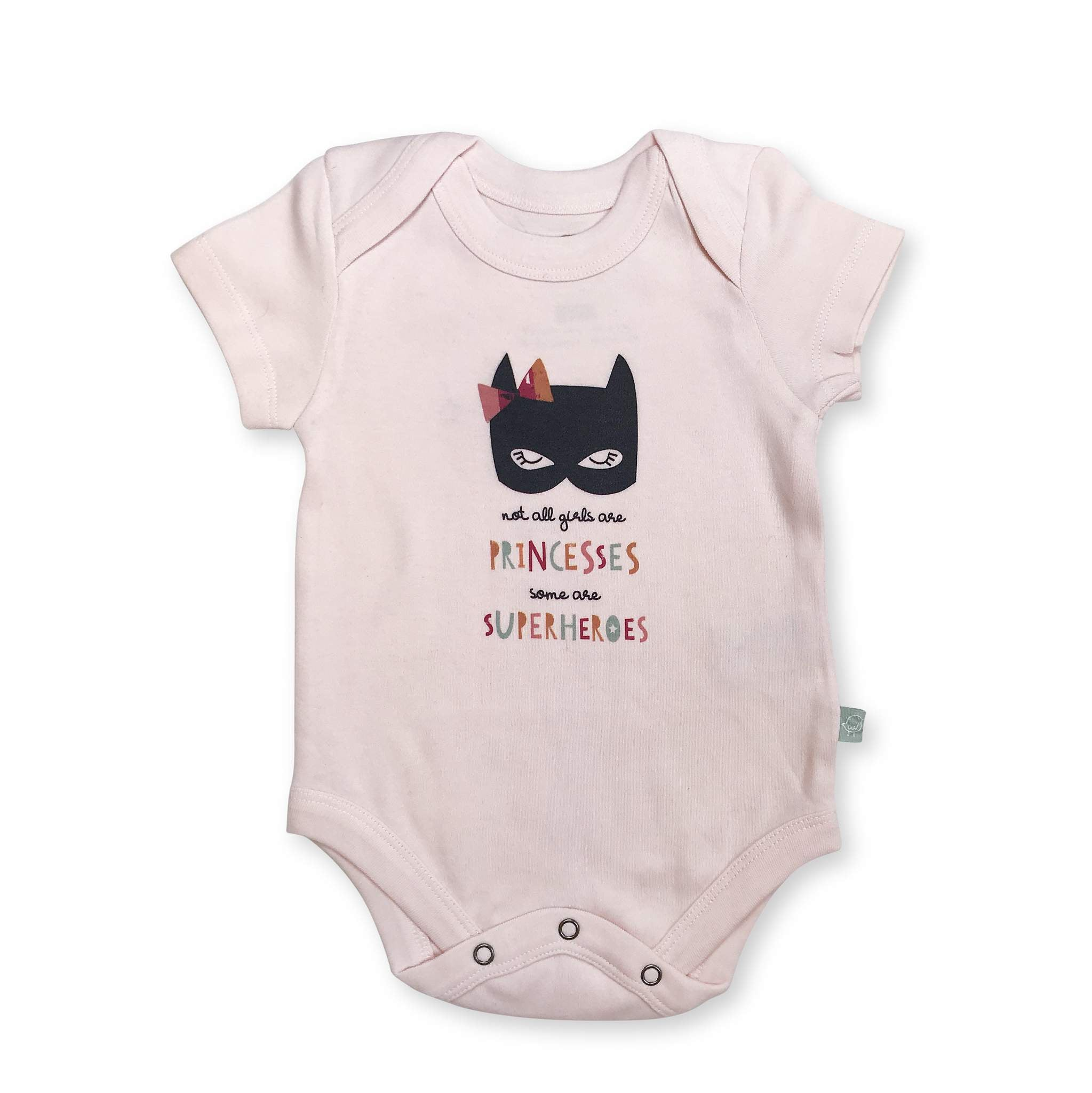 Finn + Emma graphic bodysuit pink superhero princess