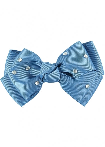 Angel's Face Diamante Big Bow Denim Blue