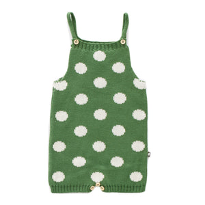 OEUF NYC Knit Romper-Green/White