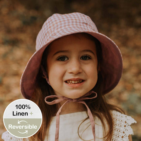 BEDHEAD HATS  Girls Reversible Sun Hat - Gingham / Rosa