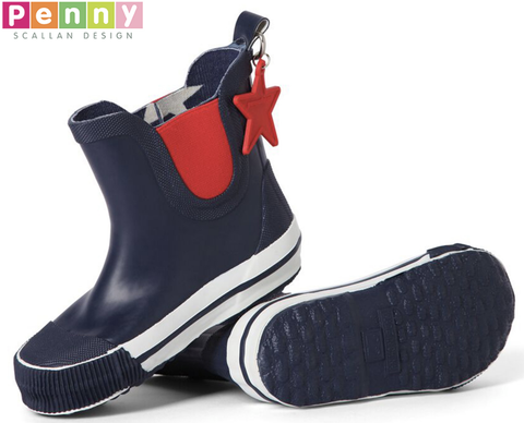 Penny Scallan Design Gumboots Navy Star Gumboot - Navy/Red