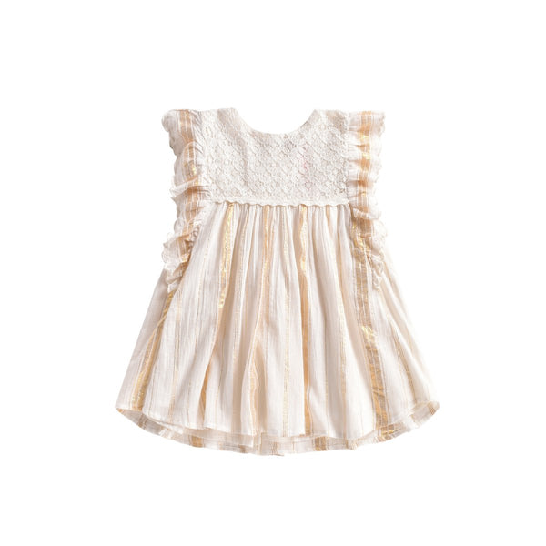 LOUISE MISHA Dress Lyka White & Gold Stripes BABY AND KIDS