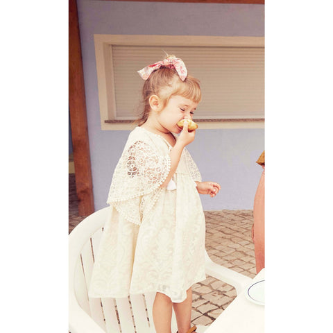 LOUISE MISHA Dress Teresa Cream Baroque Lace BABY AND KIDS