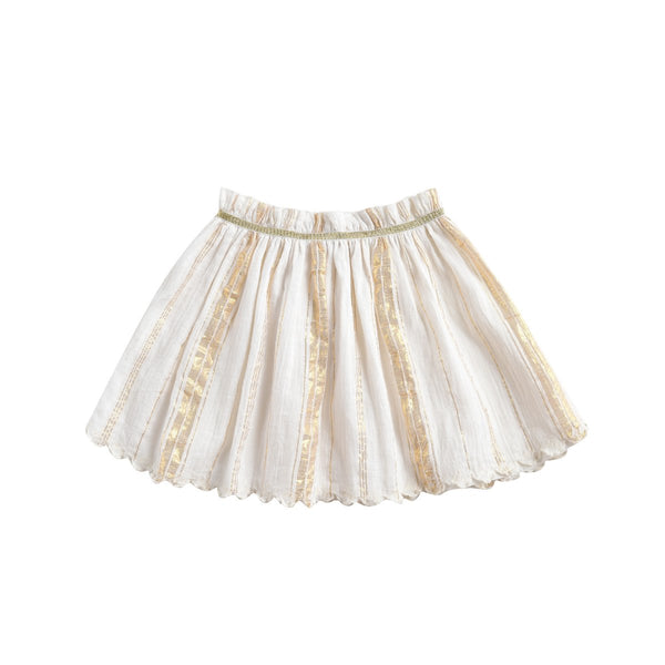 LOUISE MISHA Skirt Salina White & Gold Stripes BABY AND KIDS