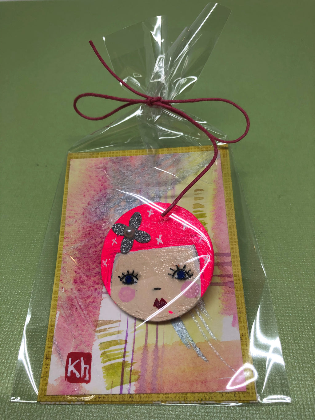 Wood Pin with Pink Hair