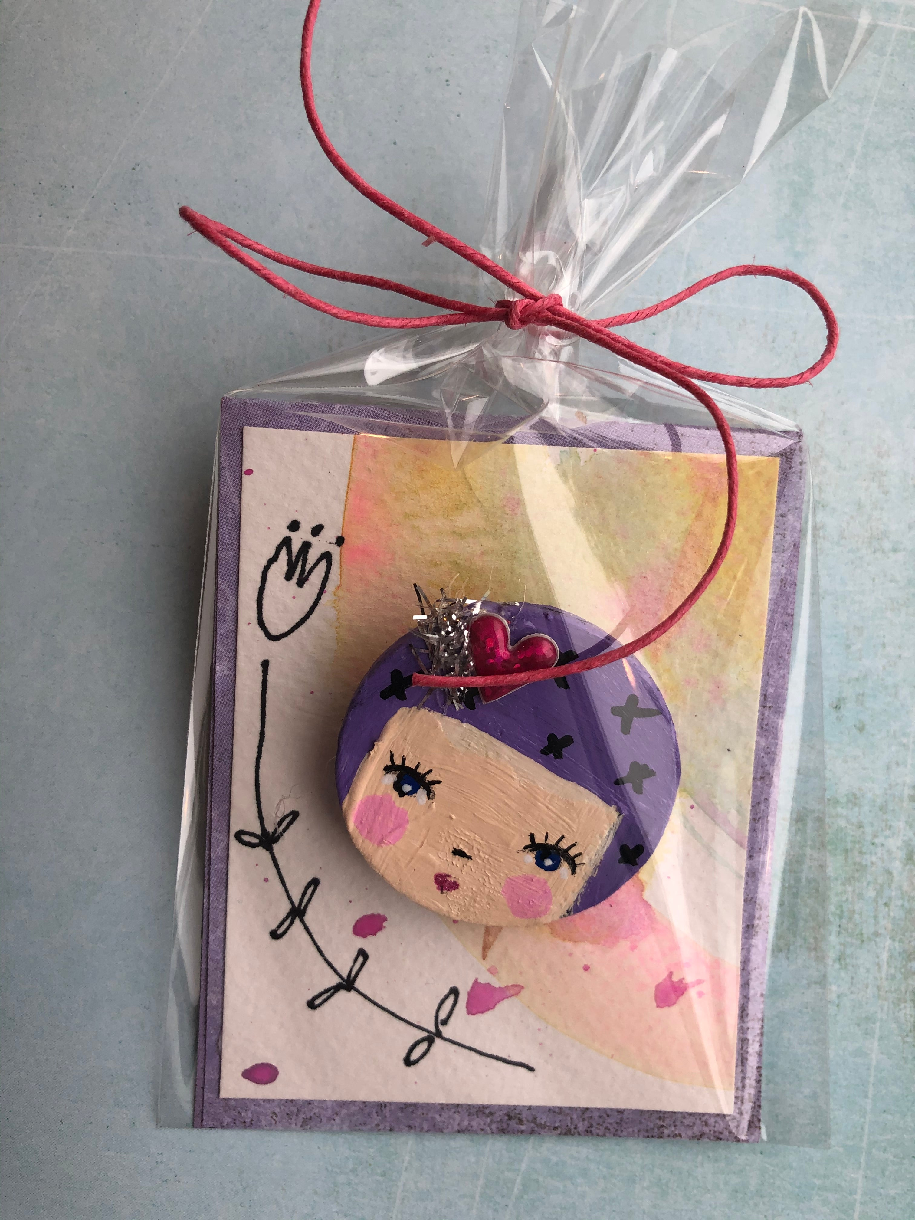 Wood Pin with Purple Hair