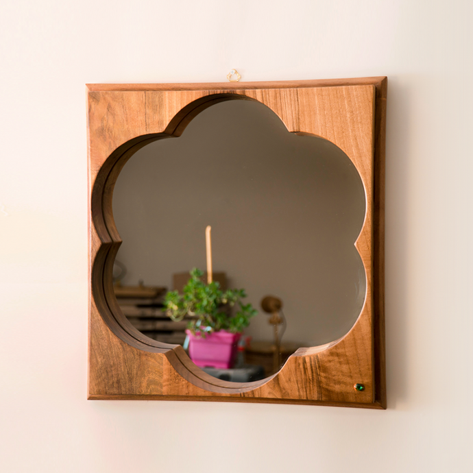Wooden Wall Mirror Made of Walnut, Daisy Shape