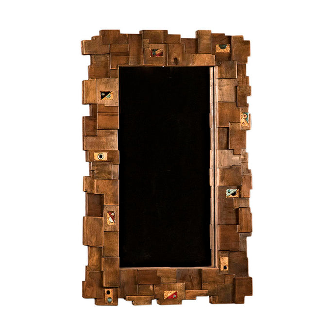 Decorative Wall Mirror made of Solid Wood by patchwork