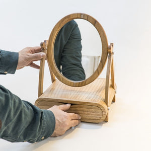 Makeup Box with mirror made of solid wood