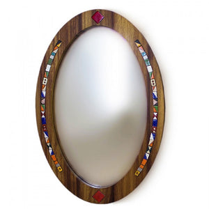 The Oval Wood Mirror made of Solid Iroko Wood